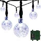 [Rechargeable Battery Included] easyDecor Globe Battery Operated String Lights 30 LED with Automatic Timer 8 Mode Crystal Ball Christmas Lights for Xmas Garden Outdoor Holiday Decoration (White)