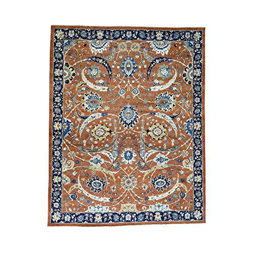 Oversize Antiqued Sickle Leaf Design Hand-Knotted Rug (11'10