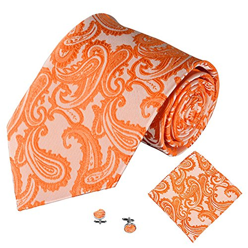 Men's Party Tie Pocket Square Handkerchief Cuff Link Jacquard Tie Paisley Cashew Tie Towel Cuffs Three-Piece Set (N)