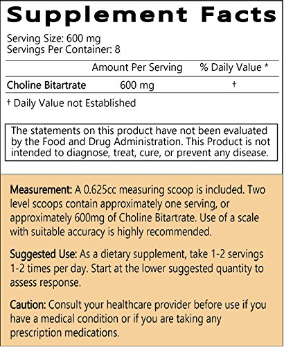 LiftMode Choline Bitartrate Powder 5 Grams Sample (20 Servings at 250 mg | 10 Servings at 500 mg) #1 Value for Money Bulk Supplement | CDP Choline Chloride 100% Natural Vegetarian Vegan