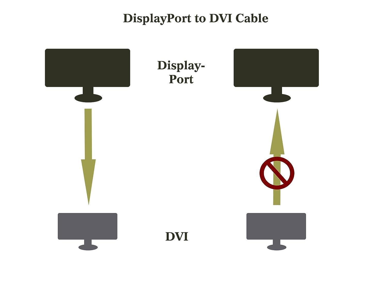 para Lenovo HP DVI-D Benfei de 1,8 m Dell ASUS y otras marcas 1.8M adaptador macho a macho chapado en oro Cable adaptador de DisplayPort a DVI