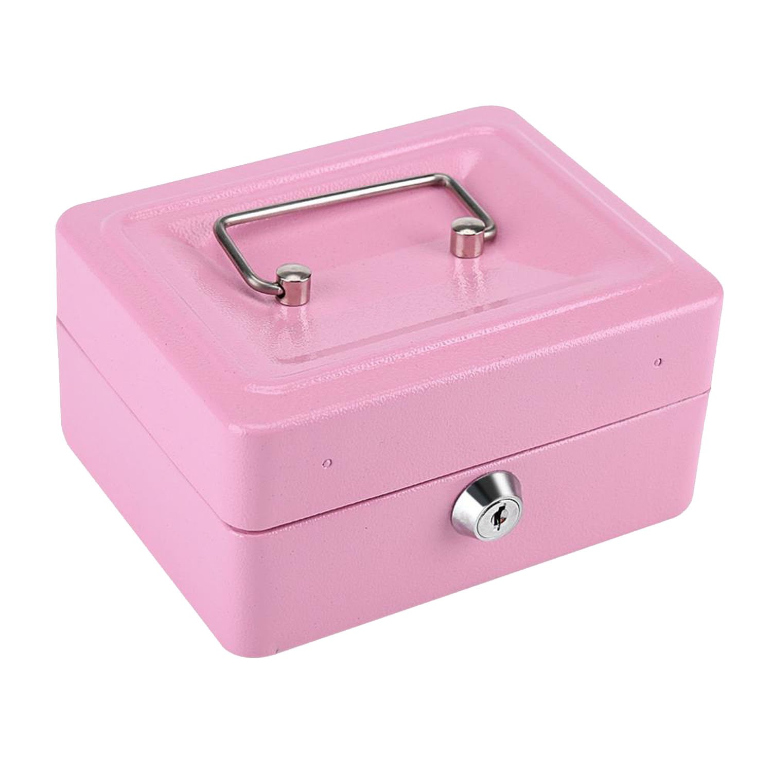 Collocation-Online Metal Jewelry Box Makeup Organizer Storage Box With Key Lock Box Storage Money Coin Holder,Pink