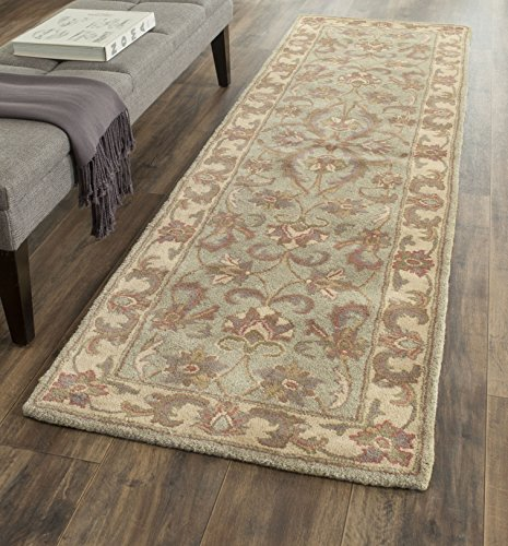 Safavieh Heritage Collection HG811A Handcrafted Traditional Oriental Green and Gold Wool Runner (2