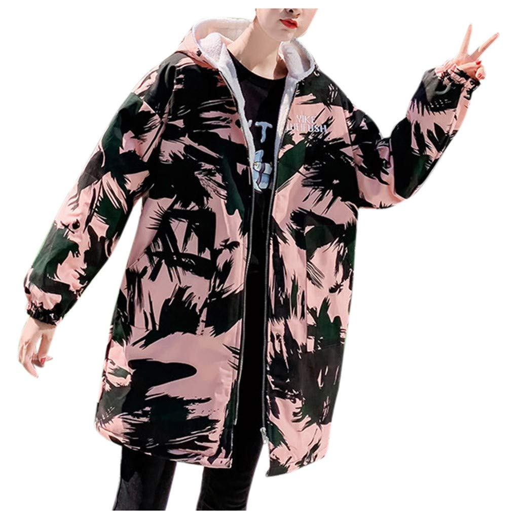 Wenini Women Fashion Loose Coat Outerwear Print Cotton-Padded Jackets Coats with Pocket Hooded by Wenini Women Coat