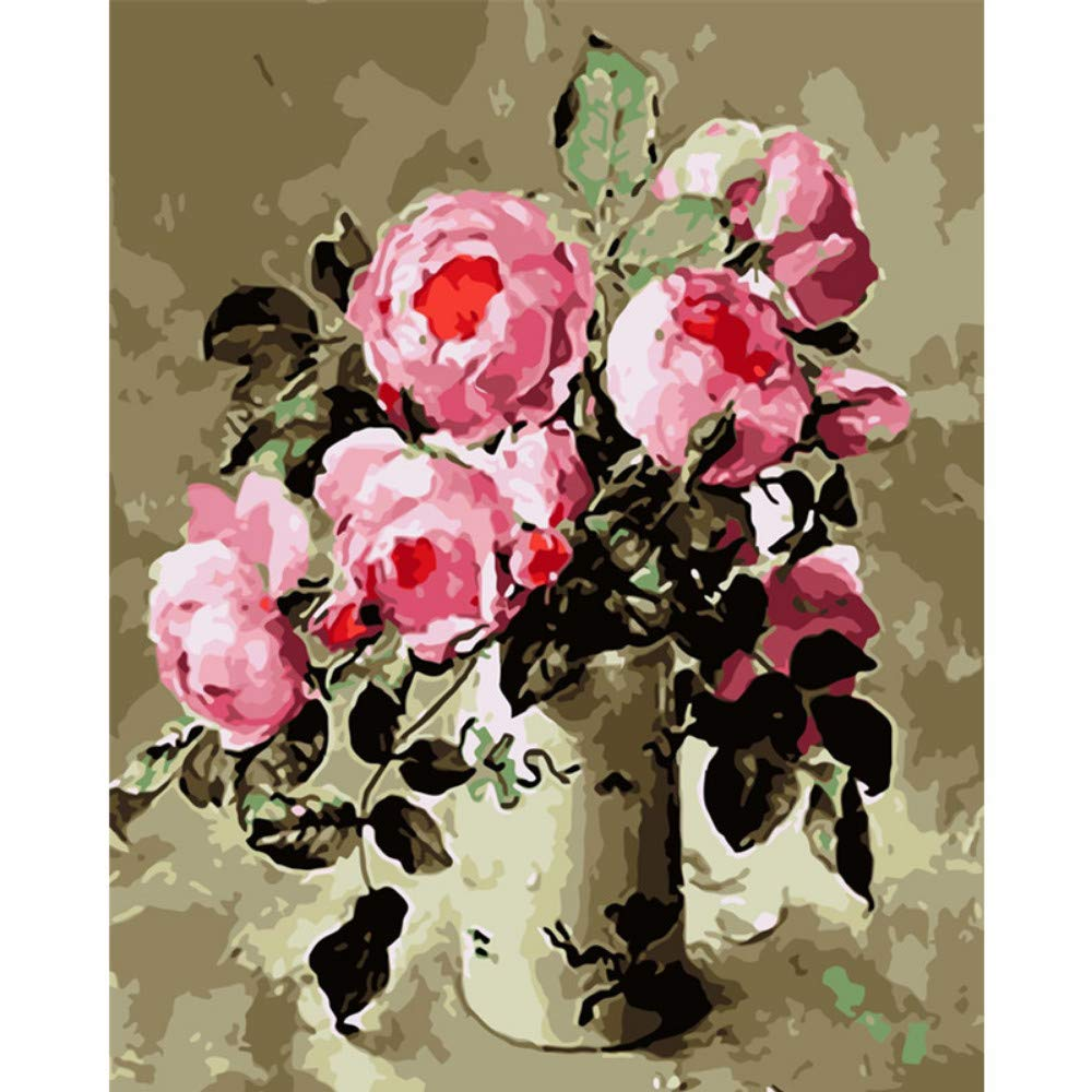 wanghan Painting by Number Vintage Pink Flowers Flower DIY Digital Painting by Numbers Modern Wall Art Canvas Painting Gift for Children Home Decor 40X50Cm