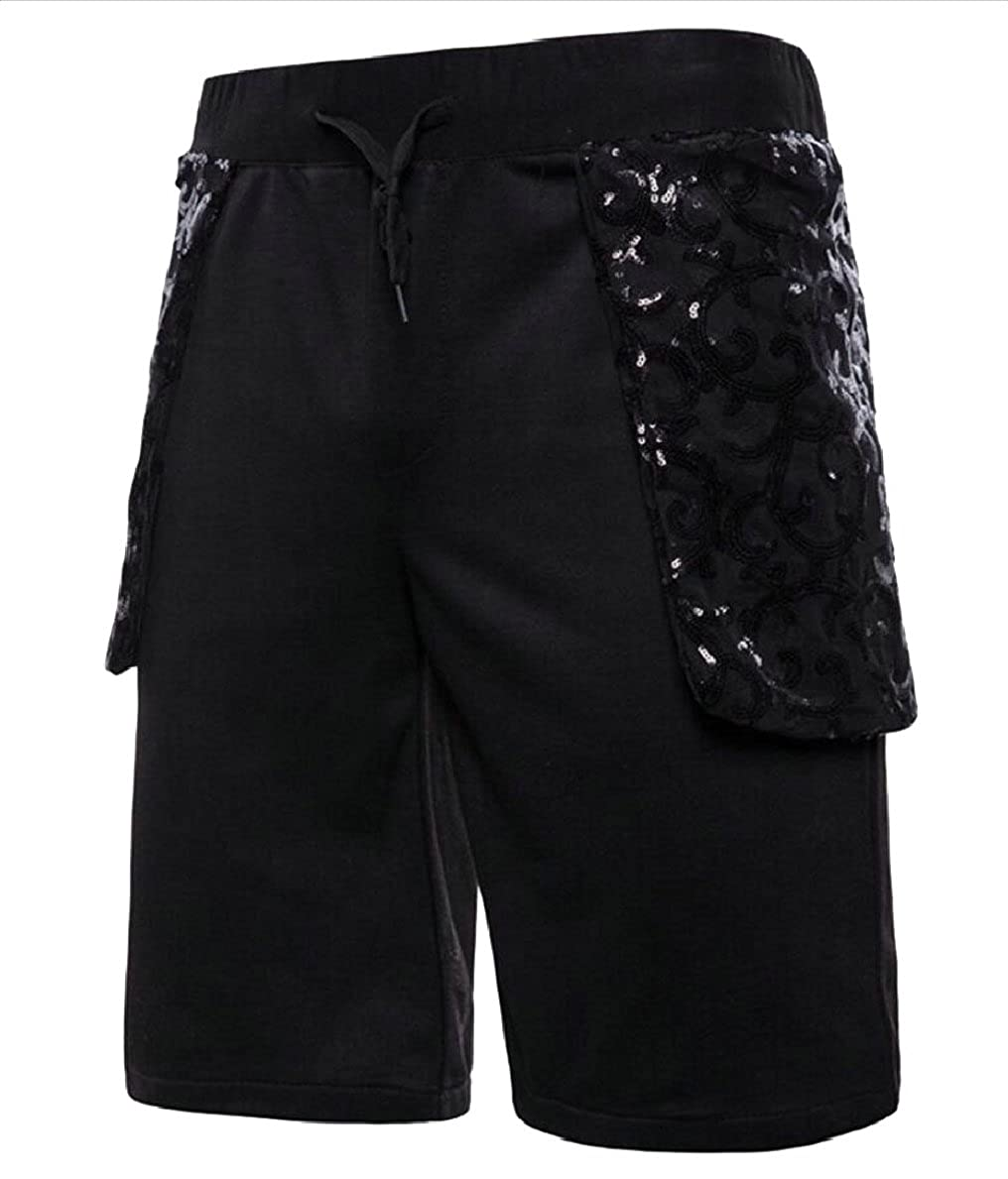 Gocgt Mens Stylish Drawstring Sequins Patchwork Straight Workout Shorts
