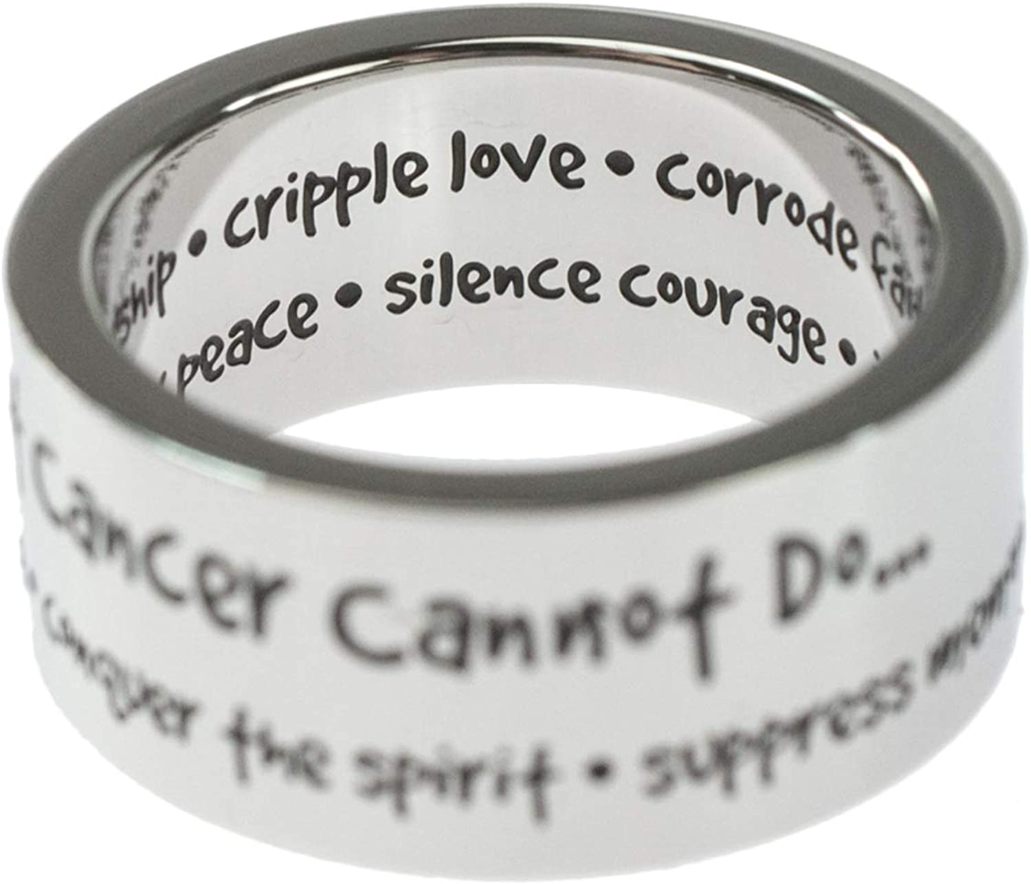 Joyful Sentiments Inspirational Jewelry Stainless Steel What Cancer Cannot Do Ring