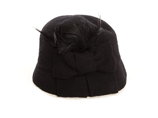 bc4c0db4d73 Image Unavailable. Image not available for. Color  August Hats Womens  Melton Bow and Feather Cloche