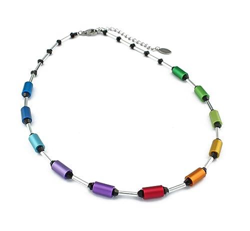 Regenbogen Kette Collier bunt Aluminium schwarze Kristalle Edelstahlverschluss