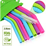 WALFOS Reusable Silicone Straws - Extra long bendy Straws for 30 oz and 20 oz Tumblers Yeti/Rtic/Ozark - 10 Pieces (4 Big Bent +4 Slim Bent +2 Cleaning Brushes ) - Food Grade & BPA FREE