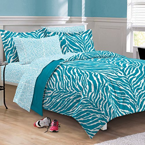 My Room Zebra Ultra Soft Microfiber Comforter Sheet Set, Aqua, Twin/Twin (Twin Bed In A Bag Zebra)