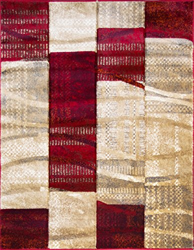 ADGO Atlantic Collection Modern Abstract Geometric Soft Pile Contemporary Carpet Thick Plush Stain Fade Resistant Easy Clean Bedroom Living Dining Room Floor Rug (4' x 6', 6247AR - Red Beige)