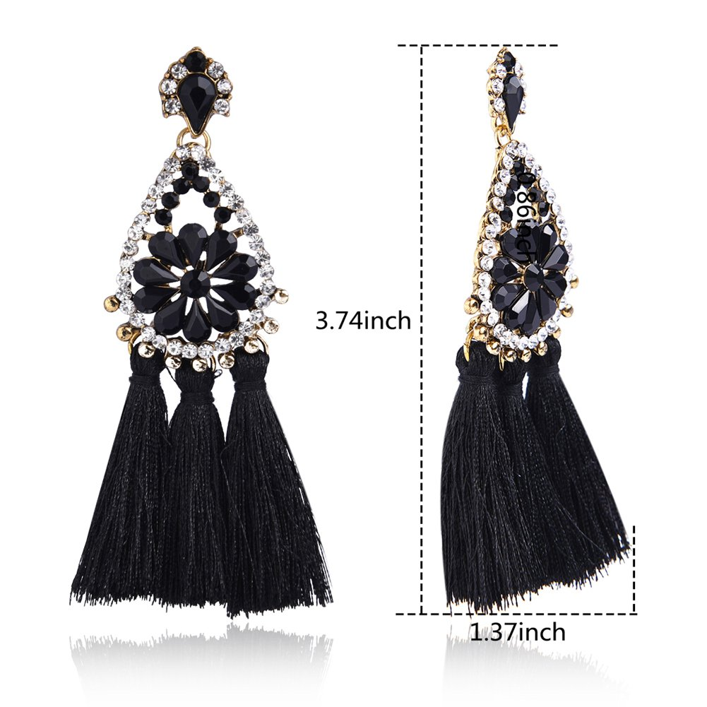Tassel Dangle Drop Stud Earrings - YIFEI 2018 New Design Rhinestone Bohemian Chandelier Teardrop Statement Handmade Dangling Fringe Earrings For Womens by YIFEI (Image #6)