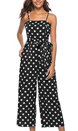 b435a8571ff futurino Women s Summer Wave Point Spaghetti Strap Sleeveless Long Pants  Casual Jumpsuit Rompers Black