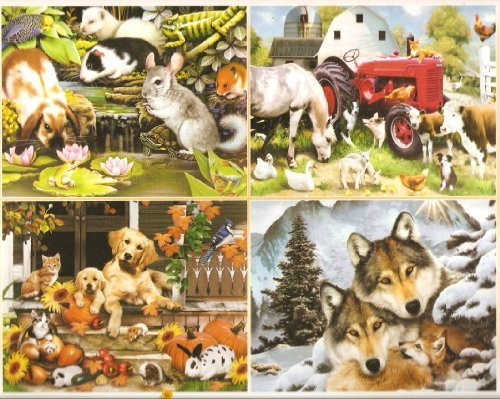 Harmony Collection - Four 500 Piece Jigsaw Puzzles by Artist Howard Robinson Including - Poolside Pets, Meadow Farm, Autumn on the Porch and Wolf Harmony by Ceaco