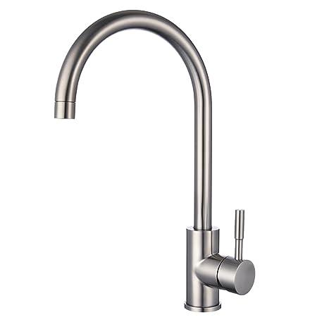 Stainless Steel Kitchen Sink Mixer Taps Monobloc 360º Swivel Spout