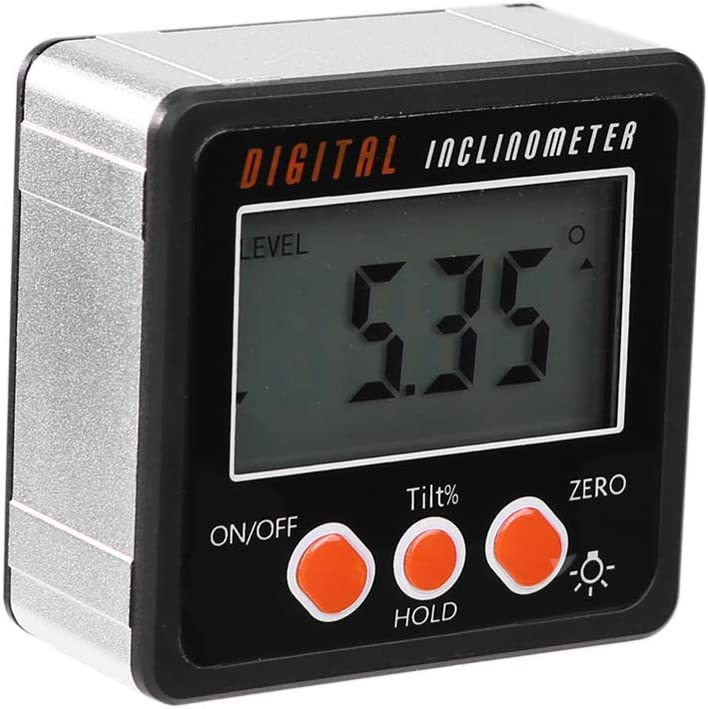 KKmooon Multifunctional Mini Backlight Digital Display Protractor Inclinometer Level Box Angle Gauge Meter 490 Degree Range Bottom with Magnet