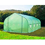 Olymstore 20'x 10'x7' Greenhouse Tunnel Garden Nursery Grow Protective Shed House with Peaked Roof Clear Polyethylene Covering Shack,Zipper Doors Backyard Flower Garden Fully Enclosed