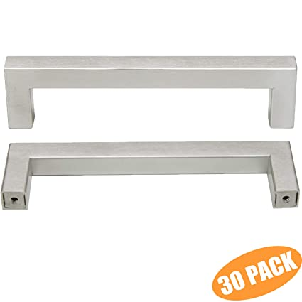 Probrico Stainless Steel Modern Kitchen Cupboard Handles 5 Inch Holes  Centers Cabinet Drawer Pulls Brushed Nickel 5.5 Inch Total Length 30 Pack