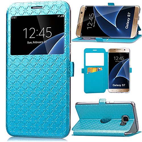 S7 Case, Galaxy S7 Case, ArtMine Quilted Plain Color Window View Function PU Leather Flip Folio Book Style Card Slots Kickstand Wallet Phone Case for Samsung Galaxy S7 Blue