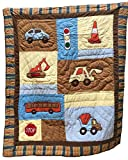Quilted Throw For Boys, Boys Quilts Patchwork Style With Appliques, Quilt Reverses To Coordinating Stripes, 100% Cotton, 61 x 50, On The Road Theme