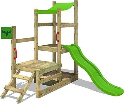 FATMOOSE Parque infantil de madera RabbitRally Racer XXL con tobogán, Torre de escalada da exterior con arenero y escalera para niños