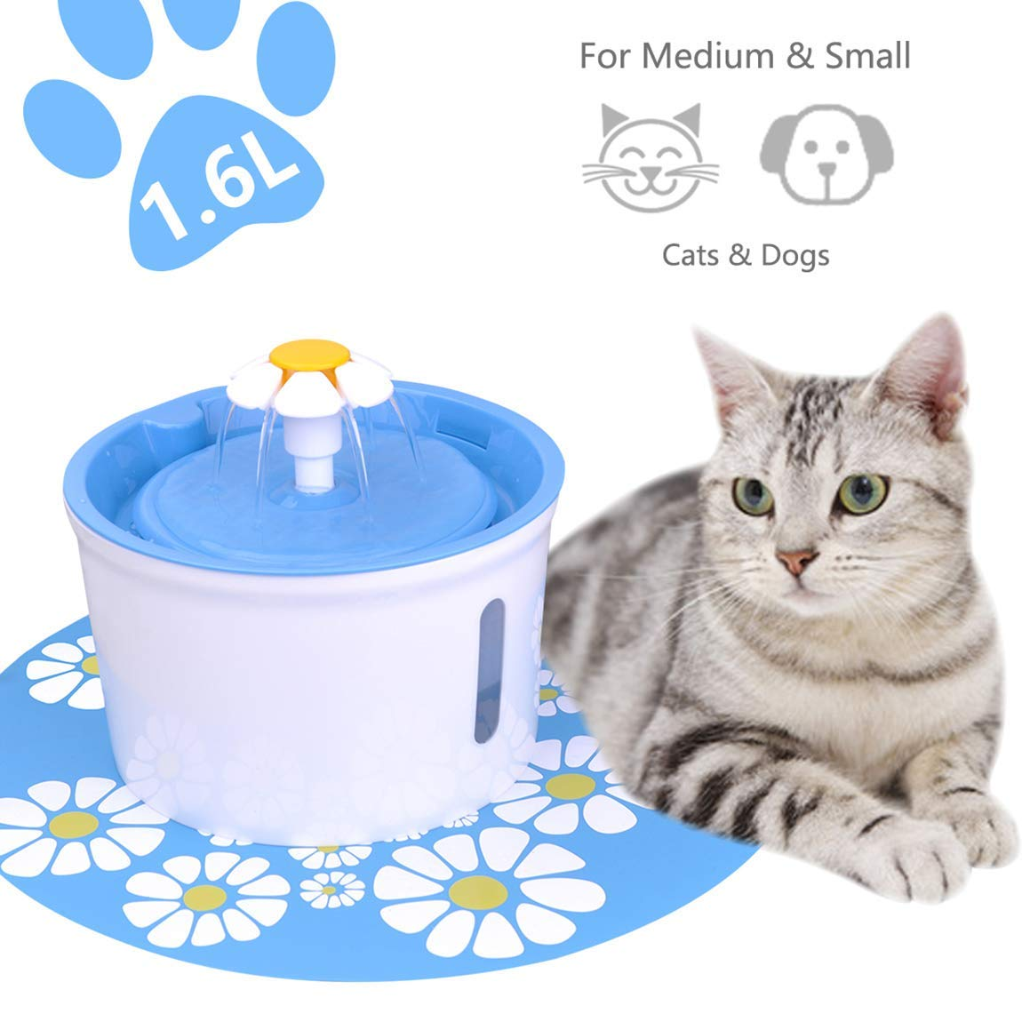 Iseebiz Automatic Pet Water Fountain, 1.6L Drinking Bowl Water Dispenser, 3 Flowing Modes, with 2 Activated Carbon Filters Plus Silicone Mat for Cats Dogs Birds etc.
