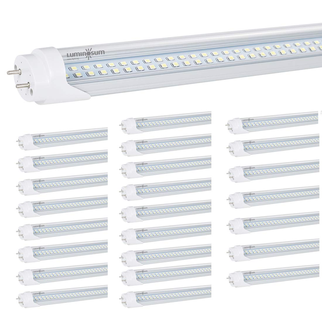 LUMINOSUM T8 T10 T12 LED Tube Lights 4 feet 28W (60W Equivalent), Dual-Ended Powered Ballat Bypass Installation, Clear Cover 6000k, ETL Listed, 25-Pack