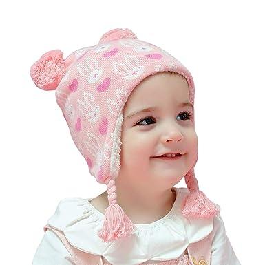 Arcweg Invierno Sombreros para Niñas Algodón Gorras de Punto Polar Gruesa Caliente Suave Cómodo Orejeras Proteger Orejas Lindos Diseño Animales Pequeños ...