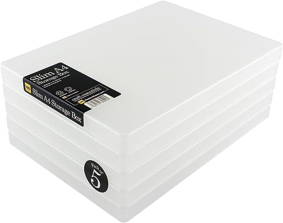 Cajas Weston - Cajas de Almacenamiento A4 Slim para Tarjetas y Papel artesanales (Transparente, Paquete de 5): Amazon.es: Hogar
