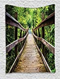 Ambesonne Apartment Decor Collection, Rustic Wooden Walking Bridge Limberlost Trail in Shenandoah National Park Virginia View, Bedroom Living Room Dorm Wall Hanging Tapestry, Green Brown Review