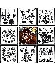 Kerst Stencils Set 8PCS Kerst Schilderij Stencil Sneeuwvlok Stencils Kerst Sjablonen Template Kerst Sjablonen Voor Ambachten Kerst Stencils Herbruikbaar Kunststof Tekening Schilderij Sjabloon