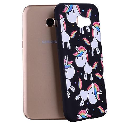 Yunbaozi Funda Samsung Galaxy A5 2017 Carcasa Impresión Unicornio Arcoiris