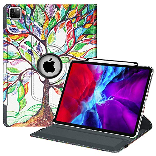 Fintie Rotating Case for iPad Pro 12.9 4th Generation 2020 & 3rd Gen 2018 - 360 Degree Rotating Smart Stand Cover w/ Pencil Holder, Auto Sleep/Wake, Supports 2nd Gen Pencil Charging, Love Tree