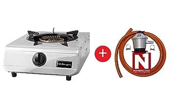 ElectrodomesticosN1 Pack Hornillo a Gas Orbegozo fo 1710 INOX, 1 Fuegos + Regulador de Gas