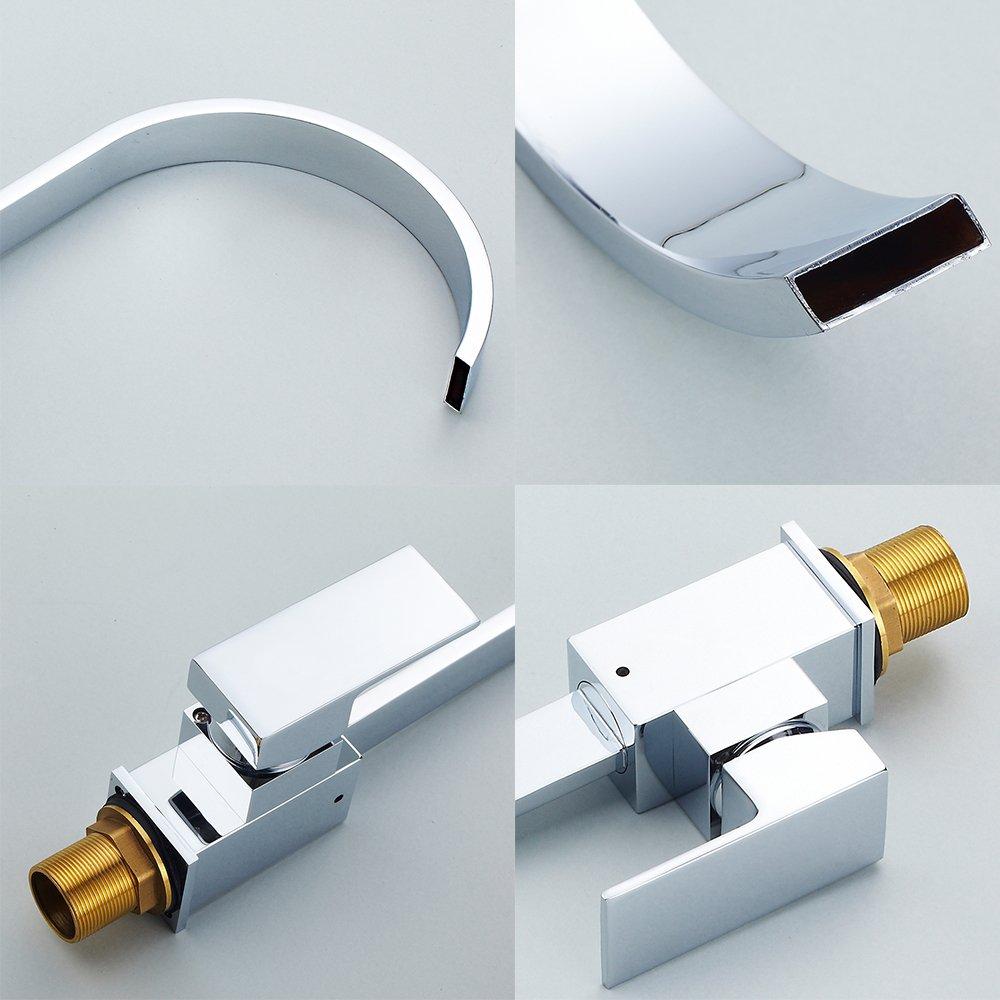Kitchen Sink Mixer Tap Single Lever Swivel Spout Chrome Brass Square ...