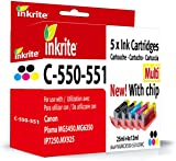 Inkrite Multipack Ink Cartridge for Canon PIXMA MG5450/PIXMA iP7250/PIXMA MG6350-PGI-550XL/CLI-551XL (Pack of 5)