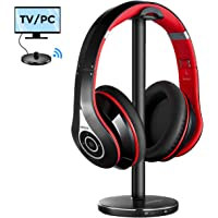 Mpow 059 Bluetooth TV Headphones Over Ear, 20 Hrs Playing, 30m/100ft Conection Range, Hi-Fi Bass Sound, TV Wireless Headphones with Transmitter, Foldable TV Headsets for TV/PC/Cellphones -Red