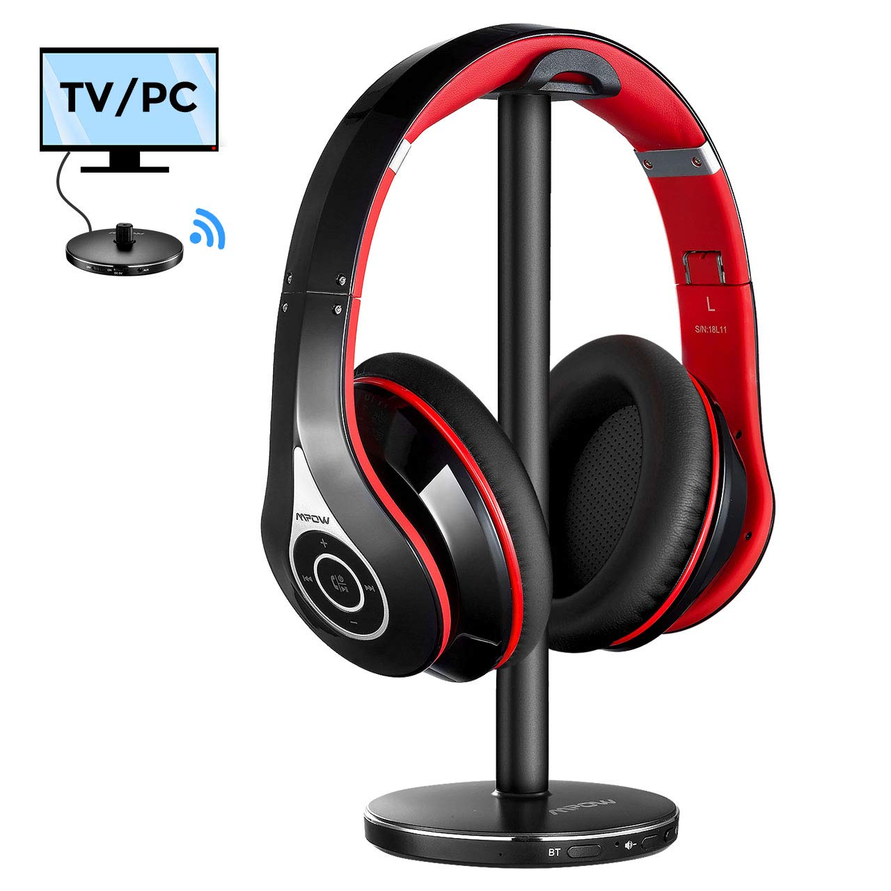 Mpow TV Bluetooth Headphones Over Ear, 059 Headphones with Upgraded 5.0 Bluetooth Transmitter Headphone Stand, Foldable Hi-Fi Stereo Wireless TV Headset, Plug Play for Cell Phones TV PC AV Receiver