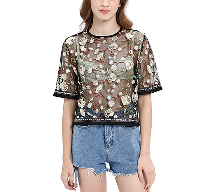e759b3672b Women's Floral Embroidered Applique Sheer Mesh See Through Blouse Top Shirt