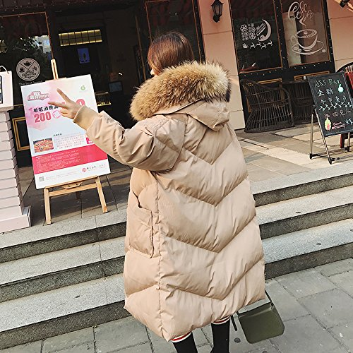 Xuanku Cotton In The Long Section Of The Winter Loose Large Fur Collar Down Jacket Cotton Jacket Khaki 1097