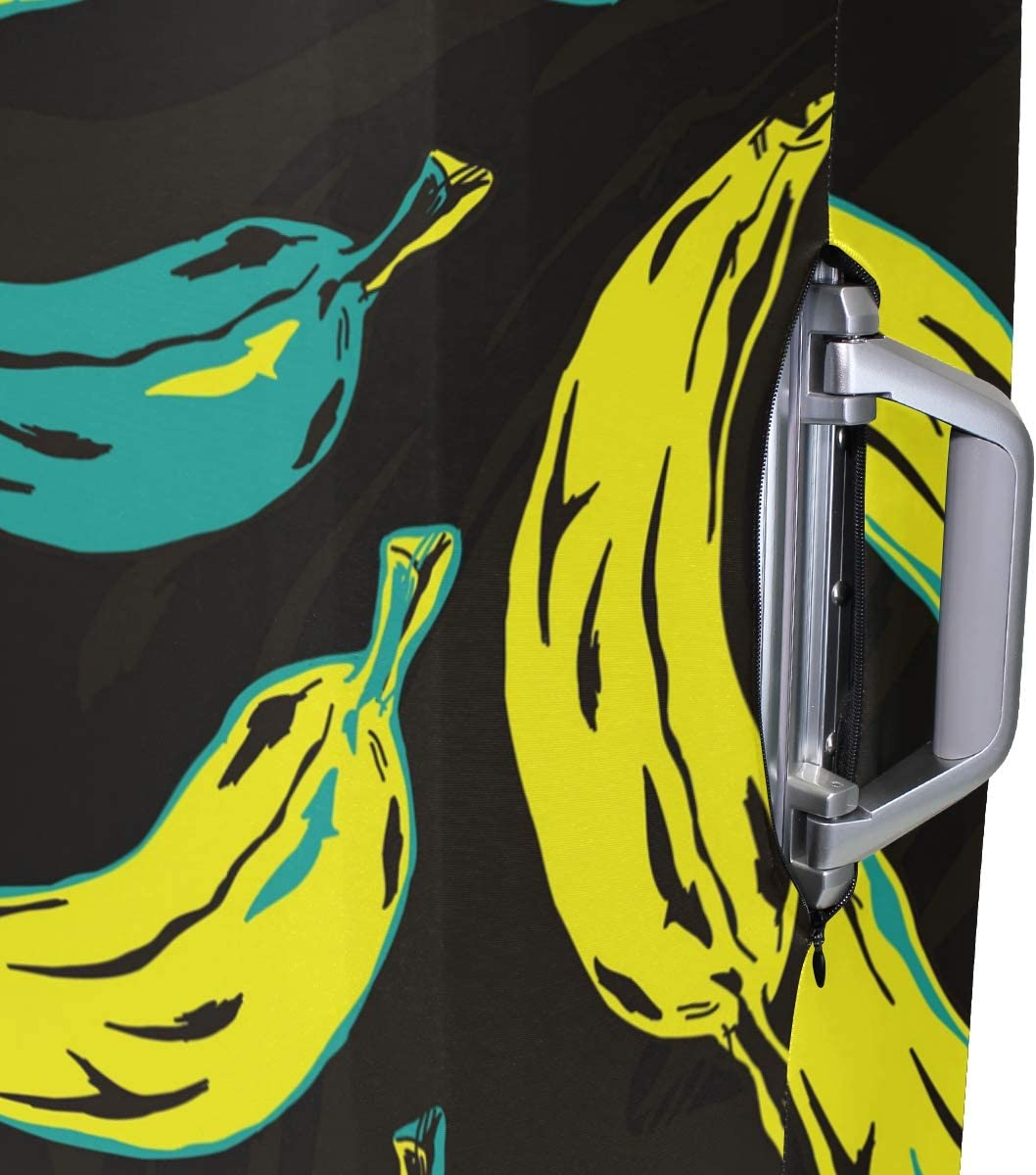 Travel Luggage Cover Yellow Blue Banana Painting Pattern Suitcase Protector