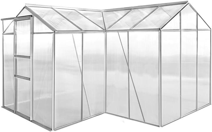 UnfadeMemory Invernaderos de Jardín,Invernadero Caseta para Cultivo Frutas,Verduras y Plantas,2 Ventanas y Puerta,Estructura de Aluminio,Policarbonato (2 Secciones con Paneles Cóncavos,313x310x213cm): Amazon.es: Hogar