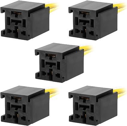 DC 12V//24V 4 Prise relais borne connecteur faisceau pour Voiture 5PCS