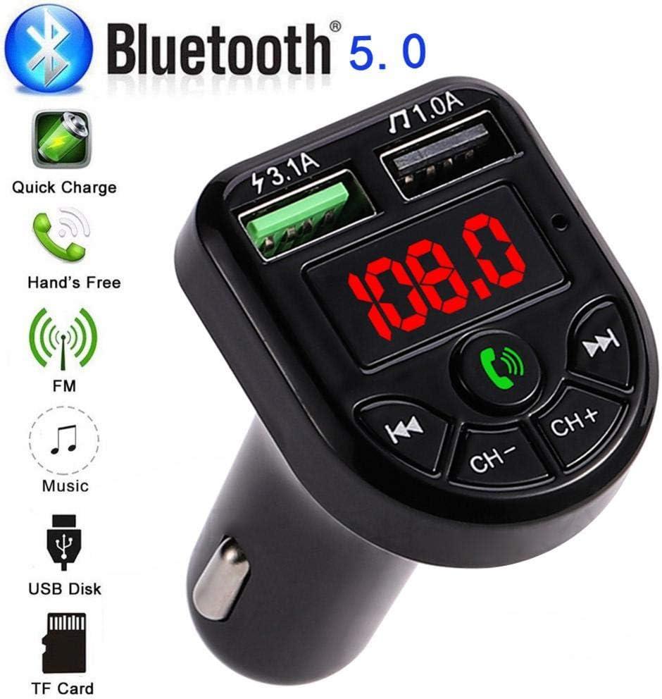 Transmisor FM Bluetooth, Manos Libres para Coche, Inalámbrico Reproductor MP3 Mechero Coche Adaptador Receptor con Dual USB 5V/3.1A & 1A, Soporte Tarjetas SD + U Disk