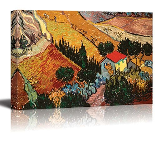 Valley with Ploughman Seen from Above by Vincent Van Gogh Print Famous Painting Reproduction