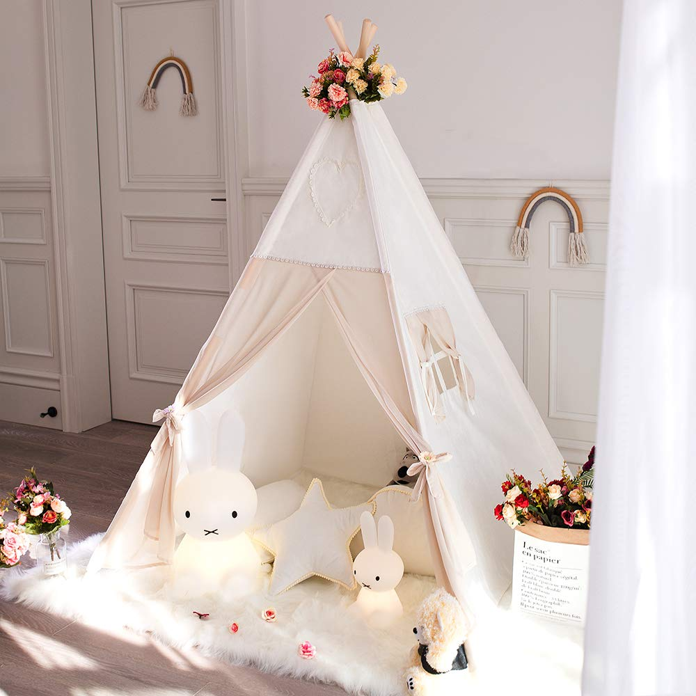 Tree Bud Kids Teepee Tent, Children Indian Play Tent with Window & Carry Case, 100% Cotton Canvas and Chiffon Fabric Tent & Pine Wood Poles for Indoor & Outdoor Room Decor