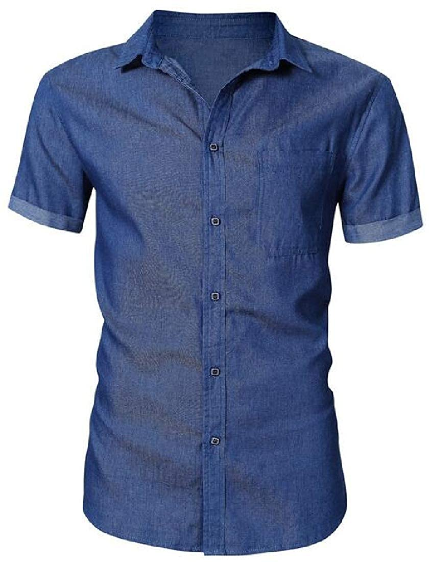 YYG Mens Button Up Summer Short Sleeve Washed Denim Relaxed Fit Dress Work Shirt