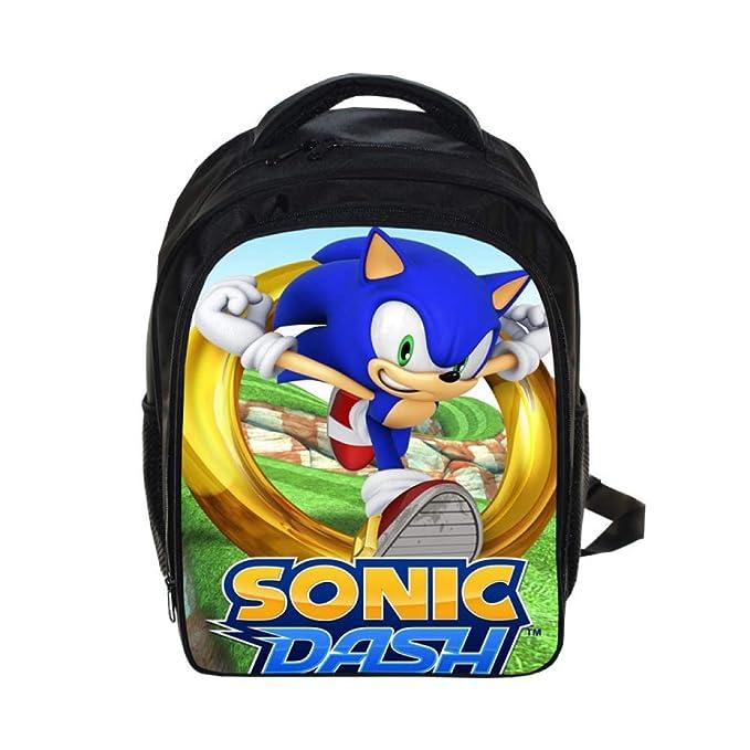 XH Mochila De Jardín De Infantes para Niños Y Niñas Anime Blue Hedgehog Sonic The Hedgehog Mochila De Guardería con Hombro Reducido