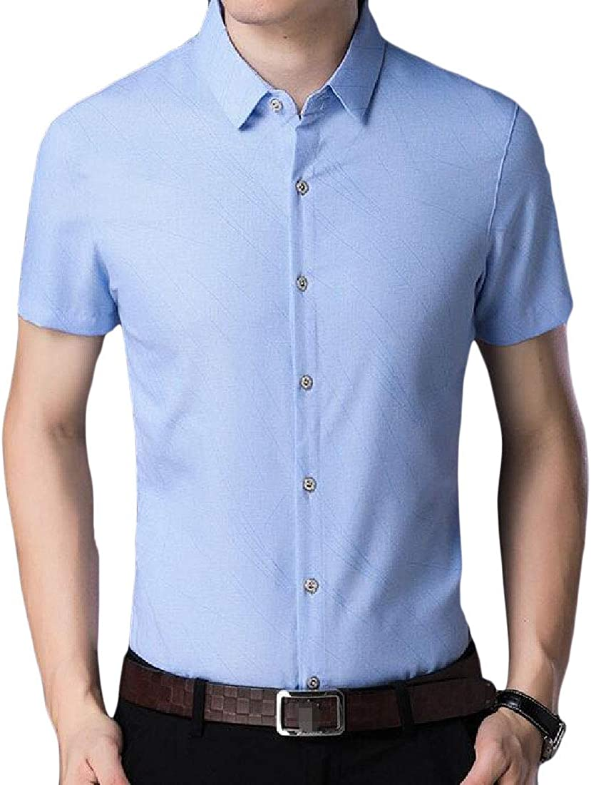 Etecredpow Men Business Classic Fit Casual Button Up Short Sleeve Shirts